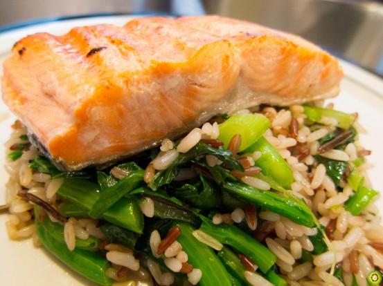 Salmon on Fried Rice