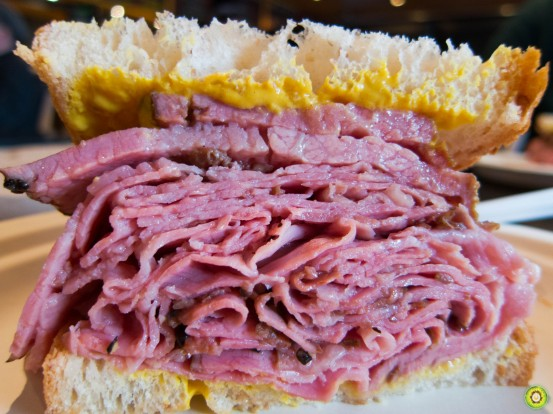 Montreal Smoked Meat Sandwich Upclose