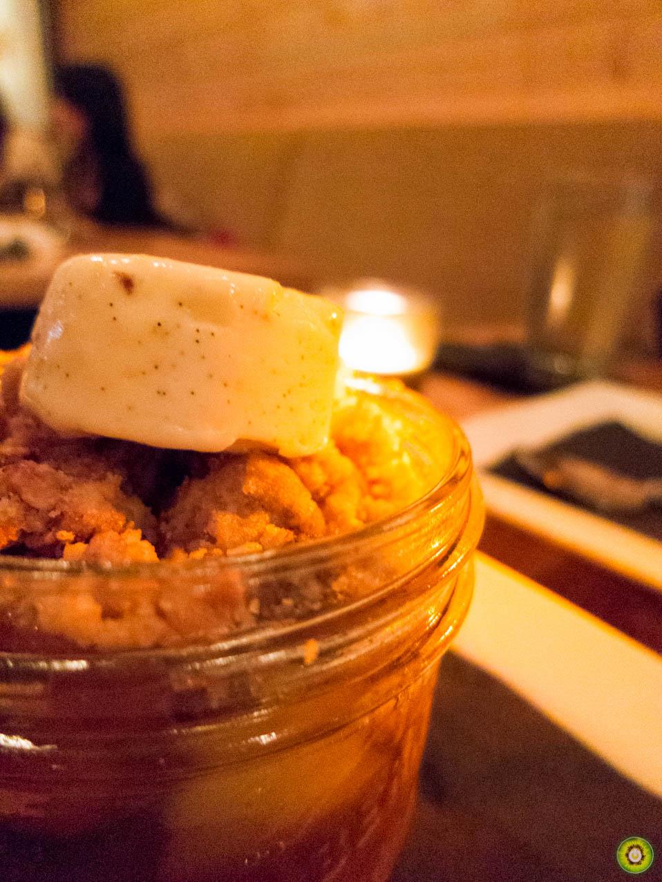 Apple Crumple w/ gala and granny smith, crumble, vanilla bavarian