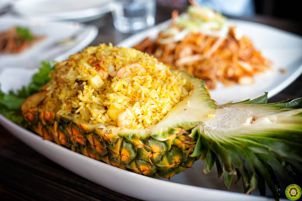 Seafood Fried Rice in Pineapple Boat